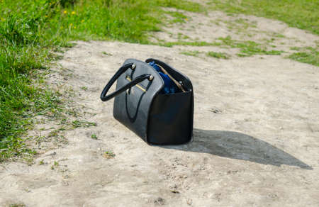 fancy bag: Woman handbag standing on the ground. Fancy leather bag
