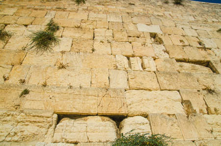 The Wailing Wall of Jerusalem pattern. Ancient Israeli architecture Stock Photo