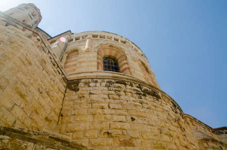 jewish houses: Ancient walls and houses of Jerusalem, Israel. Israeli architecture, houses made of bricks and stones