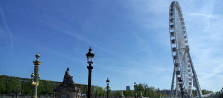 observation wheel: La Grande Roue, Ferris wheel in Paris, France. Big observation wheel, panoramic view