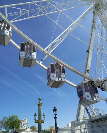 ferriswheel: Cabins of La Grande Roue, Ferris wheel in Paris, France. Big observation wheel