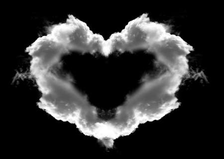 cloudshape: Heart shaped cloud with wings isolated over black background