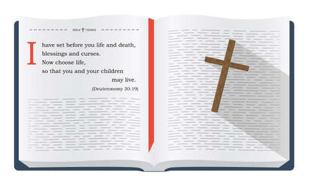 verses: Best Bible verses to remember - Deuteronomy 30:19. Holy scripture inspirational sayings for Bible studies and Christian websites, illustration isolated over white background Stock Photo