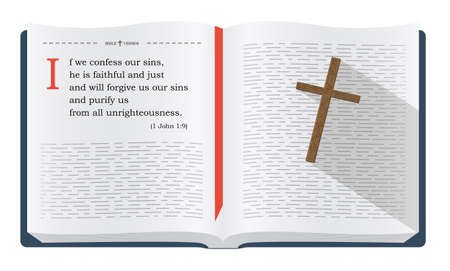 forgiveness: Best Bible verses to remember - 1 John 1:9 about forgiveness. Holy scripture inspirational sayings for Bible studies and Christian websites, illustration isolated over white background Stock Photo