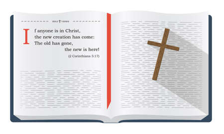 the scriptures: Best Bible verses to remember - 1 John 1:9 about how we become new creation in Jesus Christ. Holy scripture inspirational sayings for Bible studies and Christian websites, illustration isolated over white background