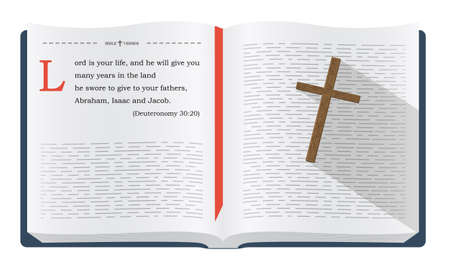 the scriptures: Best Bible verses to remember - Deuteronomy 30:20. Holy scripture inspirational sayings for Bible studies and Christian websites, illustration isolated over white background