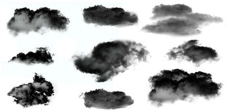 black smoke: Black smoke clouds isolated over white background set. Black clouds illustration set