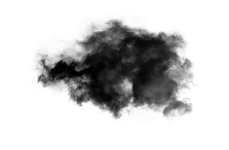 inkblot: Single black smoky cloud over white background, inkblot in water
