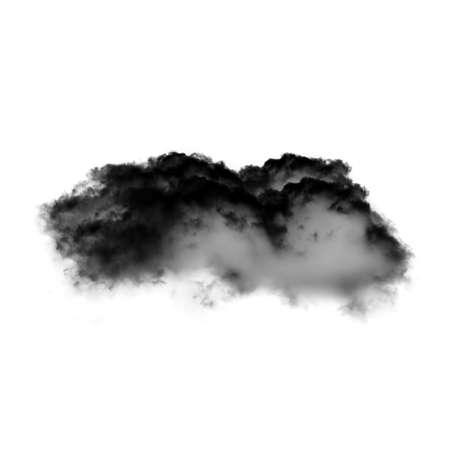 inkblot: Black cloud isolated over white background, black inkblot or smoke Stock Photo