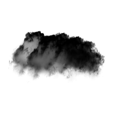 Single black cloud of smoke isolated over white background. Ink spot or cigarette smoke cloud, Rorschach test Stock Photo