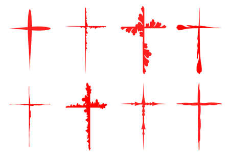 crosses: Sketchy red crosses collection isolated over white background. Vector crosses illustration set