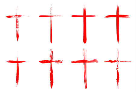 christian crosses: Hand drawn bloody crosses collection isolated over white background. Vector crosses illustration set