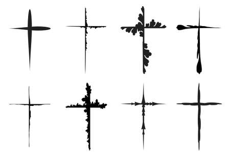 Sketchy red crosses collection isolated over white background. Vector crosses illustration set