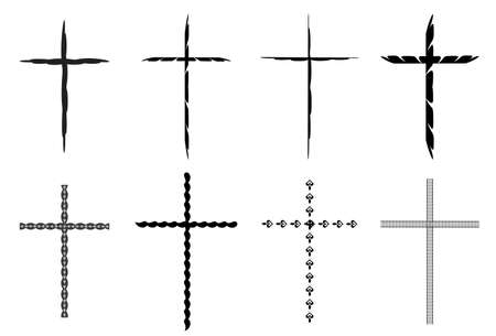 crosses: Sketchy black crosses vector collection isolated over white background. Vector crosses illustration set