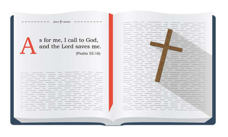 scripture: Best Bible verses to remember - Psalm 55:16, how God saves the believers. Holy scripture inspirational sayings for Bible studies and Christian websites, illustration isolated over white background