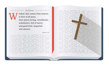 scripture: Best Bible verses to remember - James 3:17, about wisdom from God. Holy scripture inspirational sayings for Bible studies and Christian websites, illustration isolated over white background