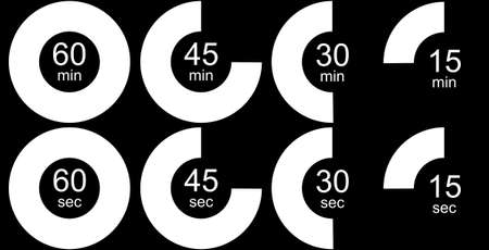sec: Timer icons set, black and white version. Eight timer clock icons outlines isolated over black background Stock Photo