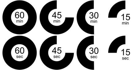 sec: Timer icons set, black and white version. Eight timer clock icons outlines isolated over white background