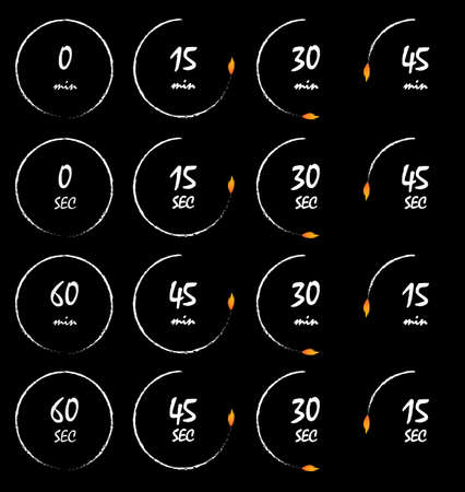 Timer burning with a fire flame, conceptual timer vector illustration. Countdown icons collection isolated over black background