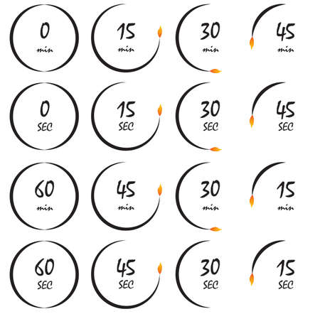 explosive watch: Timer burning with a fire flame, conceptual timer vector illustration. Countdown icons collection