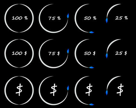 over the counter: Timer or counter of per cent and dollars, conceptual illustration, business and finance elements. Countdown icons collection isolated over black background