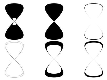sand timer: Sand clock icons set illustration. Black and white sand timer icons collection
