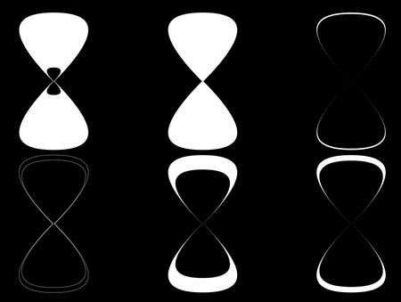 metering: Sand clock icons set illustration, high contrast. Black and white sand timer icons collection
