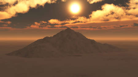 Mountain in lights of surrealistic sun, hell-like conceptual picture