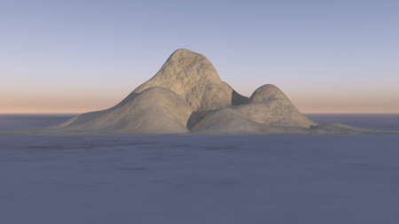 Mountains in the deserted land, 3D illustration rendering background