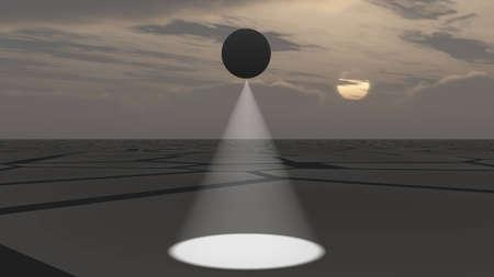 deserted: UFO flying and scanning deserted land, 3D illustration background Stock Photo