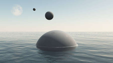Alien spaceships descending to water of the Earth sea. UFO spheres flying from the Moon, 3D illustration Stock Photo