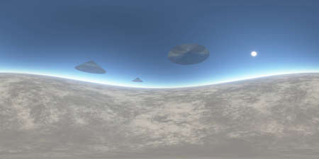surrealistic: Surrealistic UFO illustration, 3D rendering of unknown landscape background