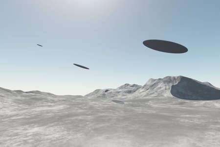conquer: UFO alien spaceships flying over mountains in the daylight. 3D rendering illustration of three unidentified flying objects Stock Photo