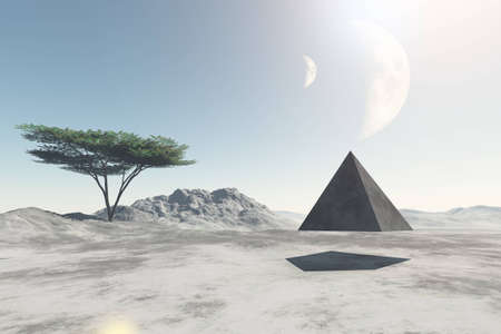 descend: Pyramid flying over deserted land of unknown planet, 3D illustration