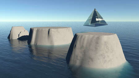 Glass pyramid descending on a flat moutain top, 3D illustration fantasy background