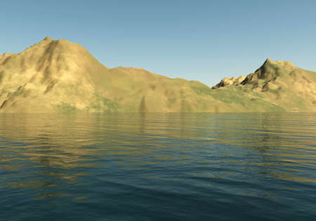 sandhills: Mountains landscape and sea 3D illustration, sandhills and water