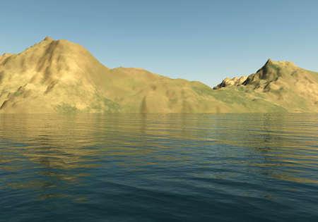 sandhills: Mountains landscape and sea 3D illustration, sandhills and water