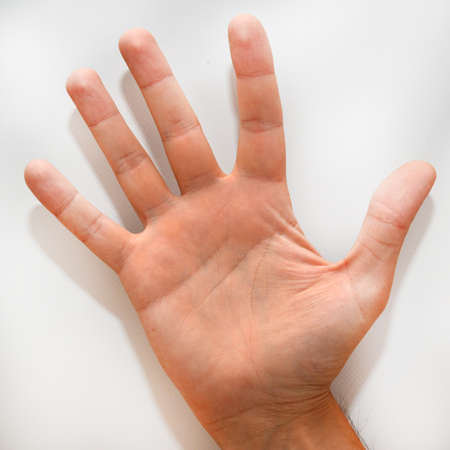 dactylology: Number five in the American Sign Language (ASL) shown with one hand and a finger