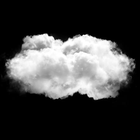 Single isolated cloud flying. White fluffy cloud drawing, 3D rendering