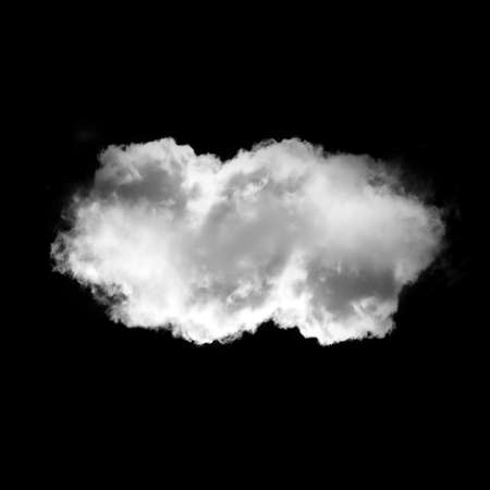 Soft white cloud isolated over black background illustration. Single cloud drawing, 3D rendering