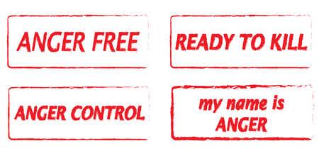 temper: Anger and temper control conceptual illustration, vector rubber stamps Illustration