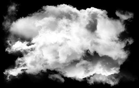 avia: Single white smoky cloud shape isolated over black background, realistic fluffy cloud 3D rendering illustration