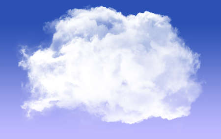 Single white cloud shape isolated over blue background, realistic round fluffy cloud 3D rendering illustration