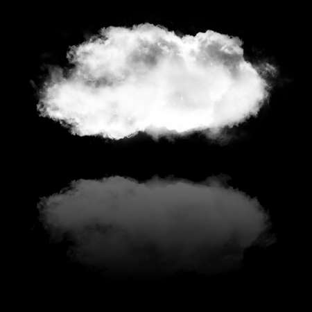 Single white cloud shape and its reflection isolated over black background illustration, nature and technology concept Stok Fotoğraf