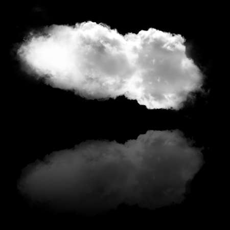 Single white cloud with its reflection isolated over black background illustration, nature and technology concept Stok Fotoğraf