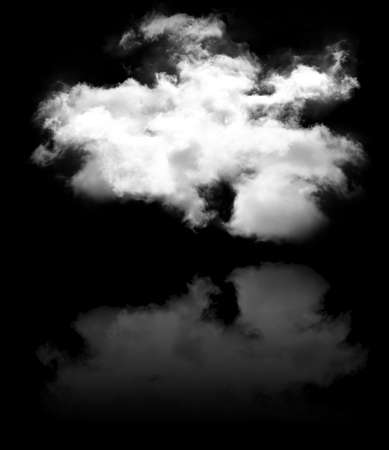 Single curvy cloud shape with reflection isolated over black background illustration, nature and technology concept