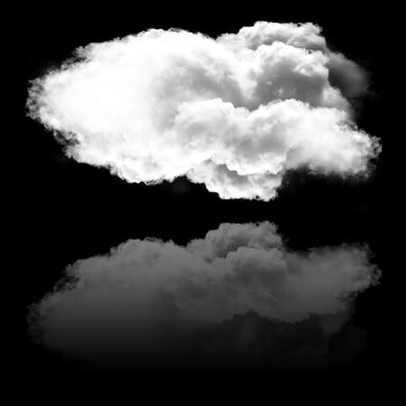 cumulus: Single white fluffy cloud and its reflection isolated over black background, 3D rendering illustration