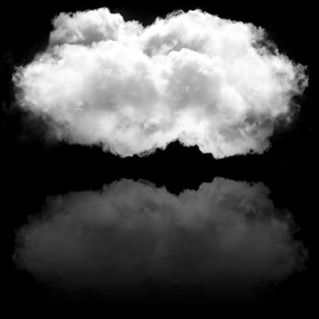 atmospheric: Single isolated cloud flying. White fluffy cloud with water reflection drawing, 3D rendering