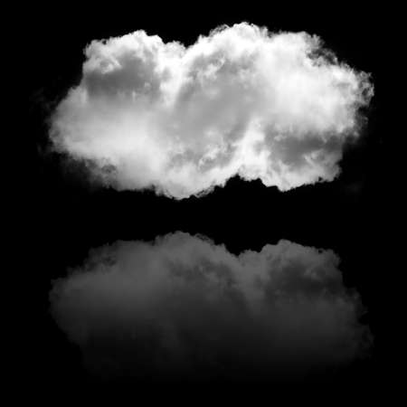 Soft white cloud flying isolated over black background illustration. Single cloud drawing, 3D rendering