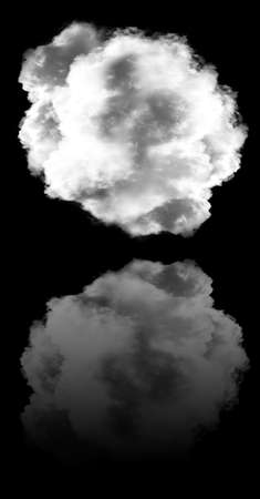 Single white cloud with its reflection isolated over black background, 3D rendering illustration